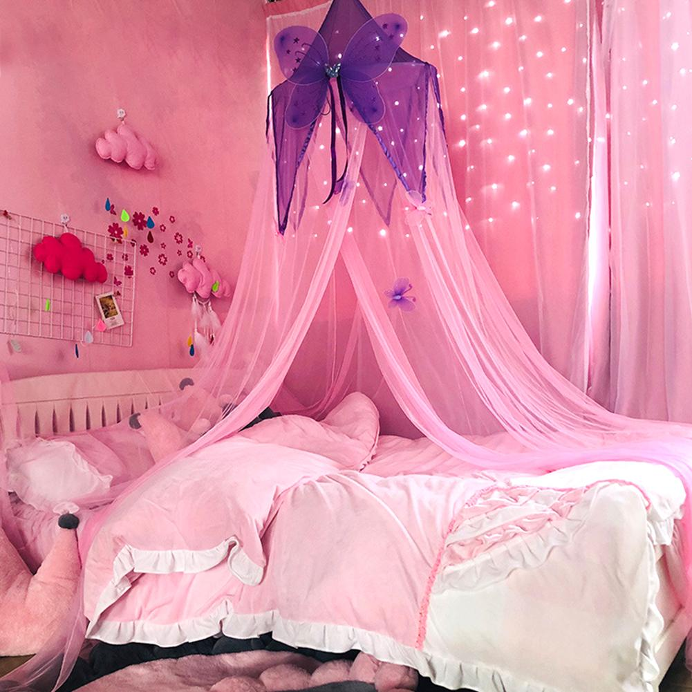 Girls Canopy Crib Netting Bed Room Reading Round Dome Butterfly Play Hung Mesh Lightweight Mosquito Net Kids Princess