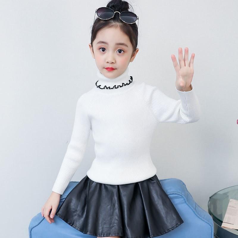High Neck Teenage Girls Sweater 2019 Kids Autumn Spring Pullover