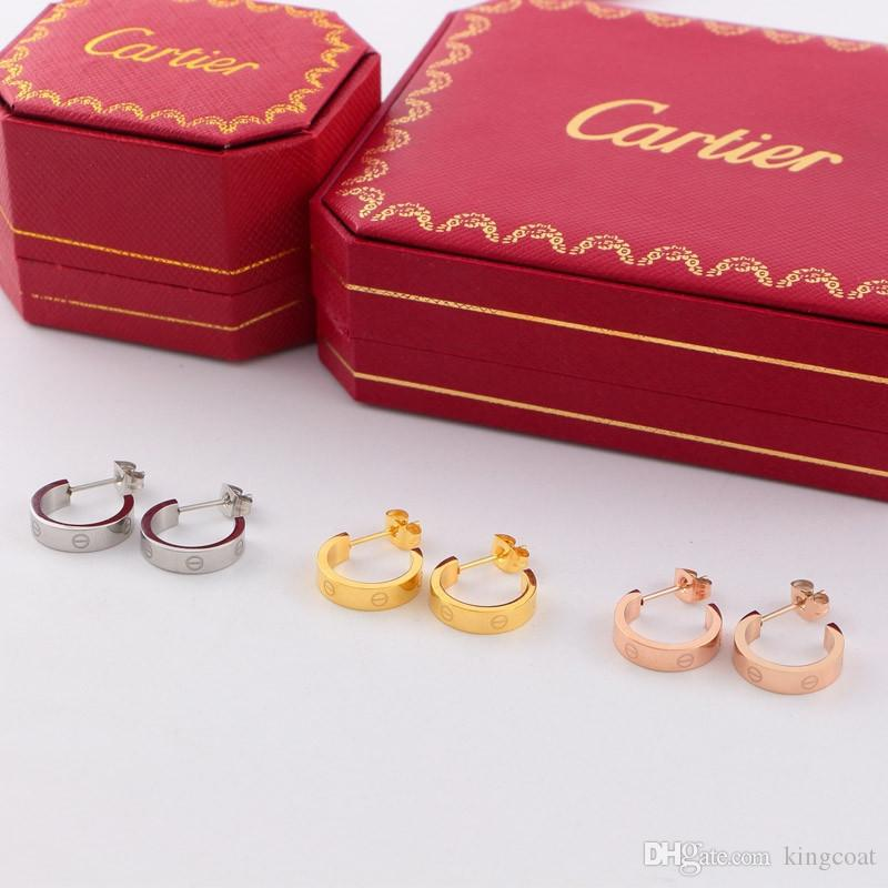 Tide Brand Women Studs Fashion Round Carving Brand Girls Earrings Party Gifts Classic Titanium Lady Studs Jewellry