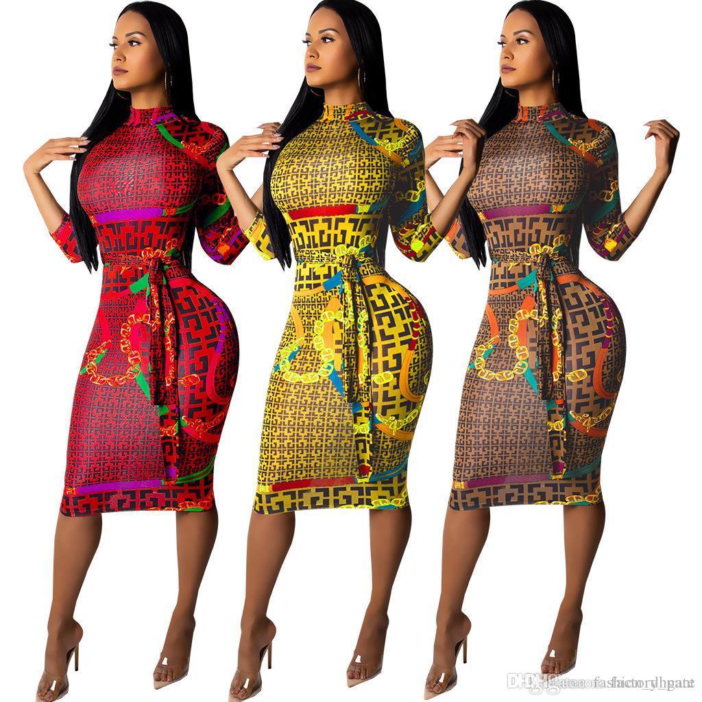 new arrival 52b4b 31577 Abito donna manica lunga abito autunno o collo Vintage stampa a righe sexy  vestito aderente da donna mini abito manica lunga