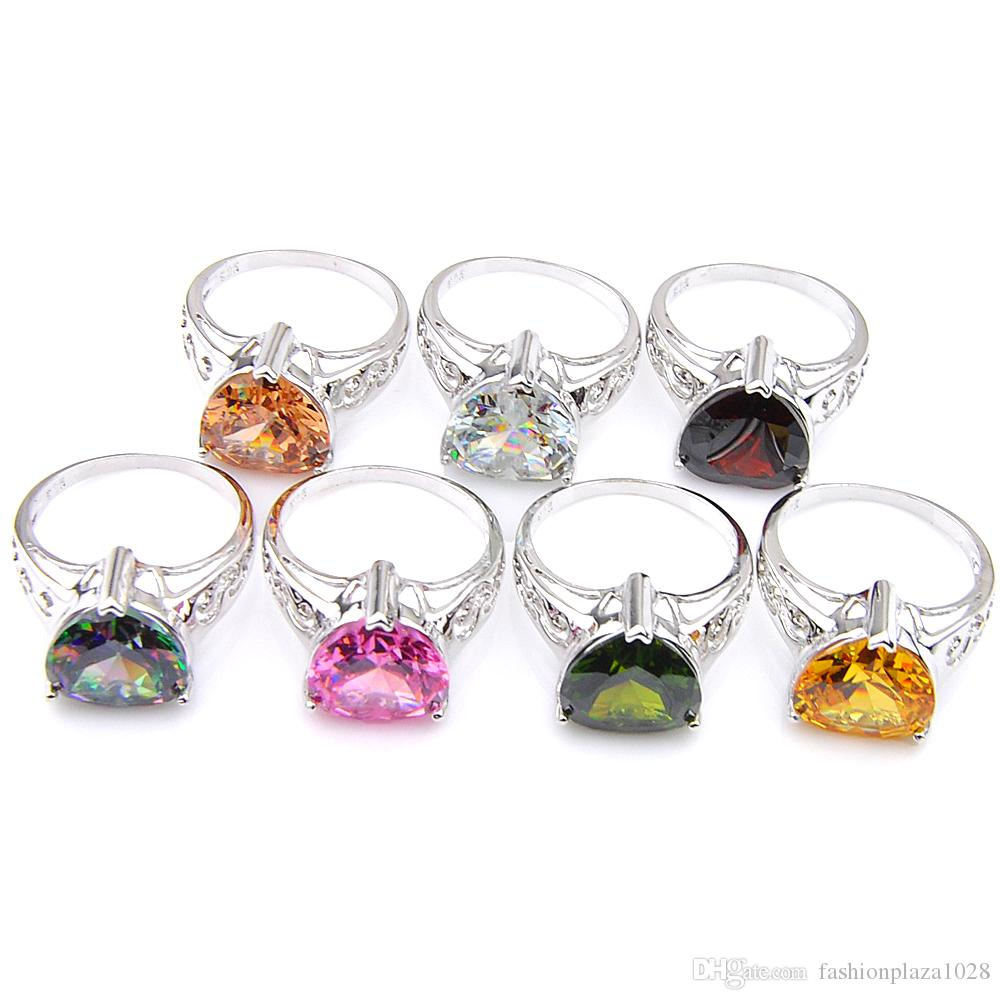 Luckyshine 10Pcs/1Lot Mix Color Women Classic Shine Fire Heart Rainbow Mystic Topaz Gems Silver Rings Valentine's Day Weddings Rings Gift