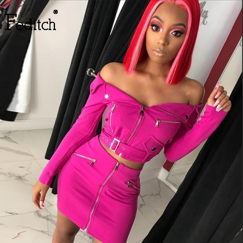 Feditch 2019 Sexy Off Shoulder Two Piece Dress Solid Zipper Bodycon 2 Piece Women Long Sleeve Belt Top And Skir Ladies Outfit SH190713