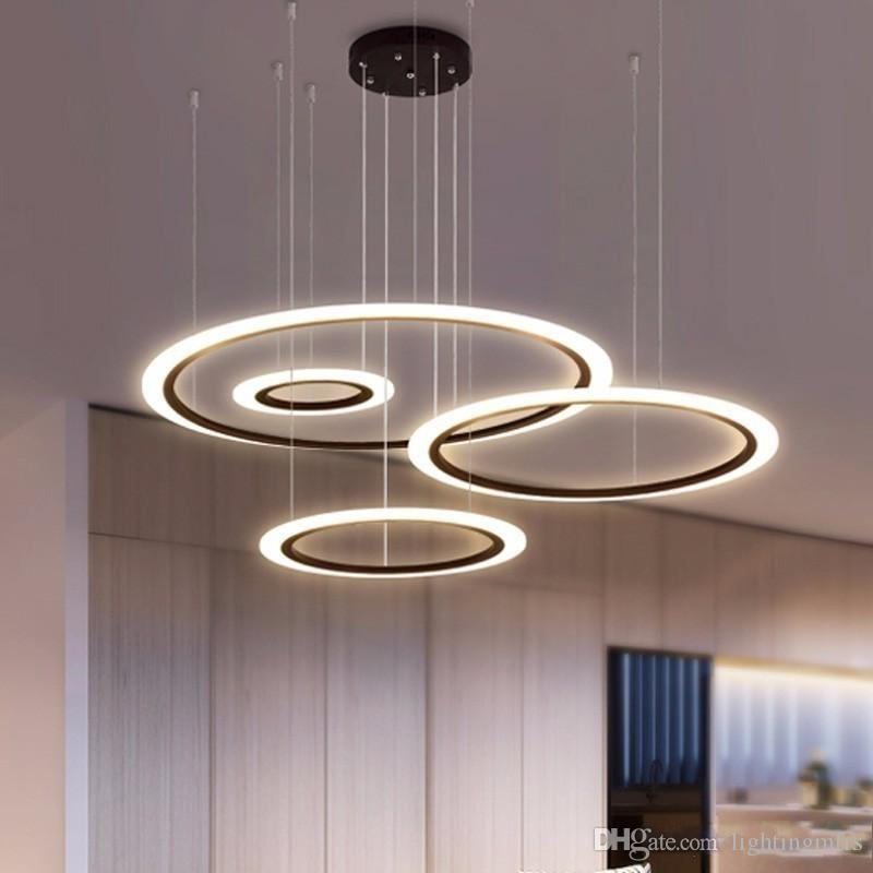 Modern LED Chandelier For Living Room Bedroom Restaurant Light Fixture Black Rings Hanging Lamp Home Lustre With Remote Lighting 90-265V