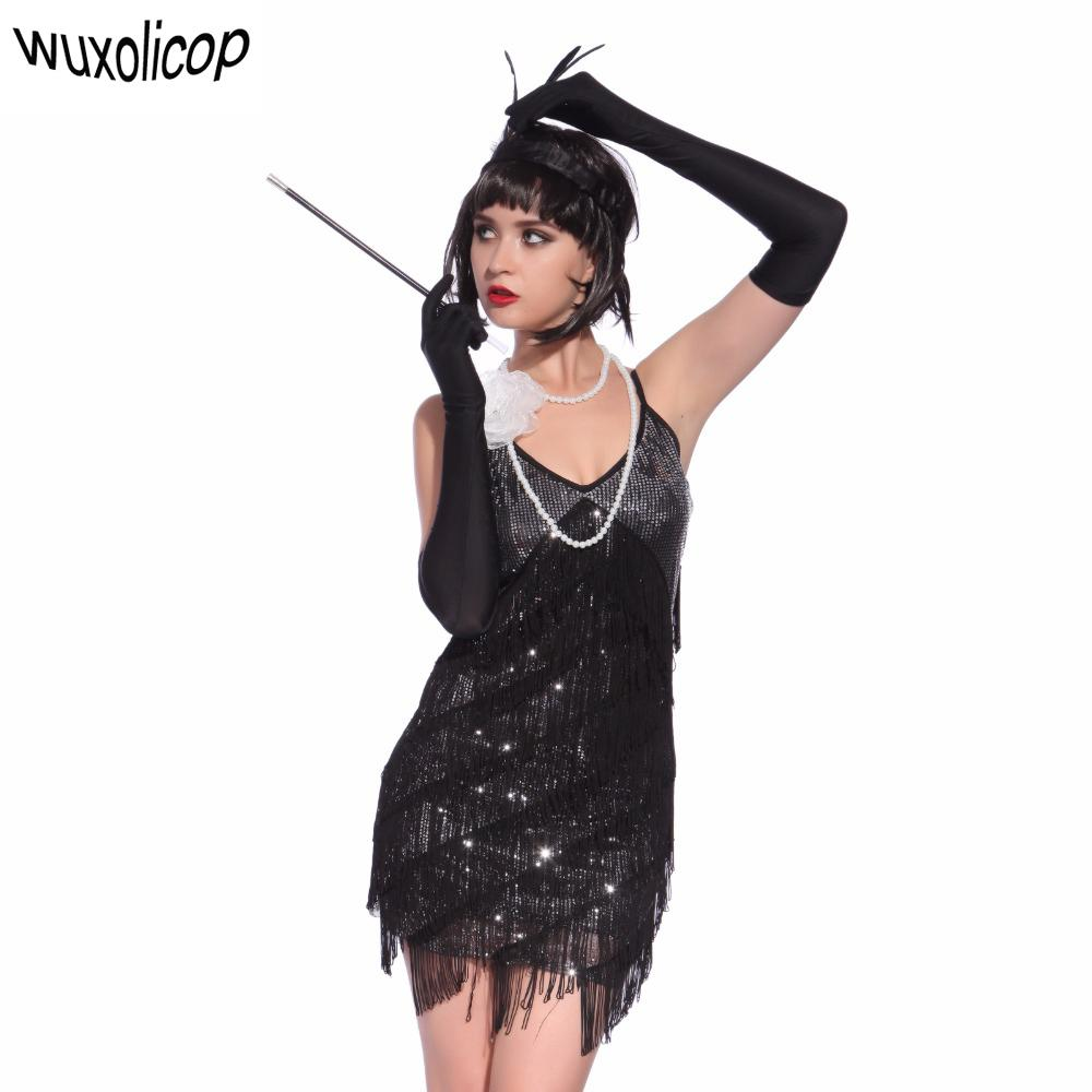 6ab61b8bc3a26 Stunning Stage Dance Costume Tiered Tassel V-neck Fringe Dress 1920s Great  Gatsby Dress Flapper Party Sequin Cami Dress Y19052901