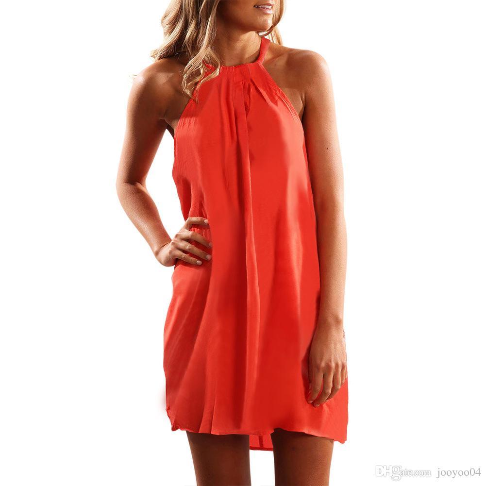 583a81b77 Sin mangas Casual Mini-falda nuevo cuello redondo Halter flojo chaleco  vestido moda mujer tendencia popular estilo jooyoo