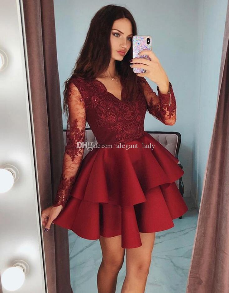 Tiered Ruffles Burgundy Satin Short Prom Dresses 2019 Modest Sheer Long Sleeves Formal Party Gowns Appliques Lace 8th Grade Homecoming Dress