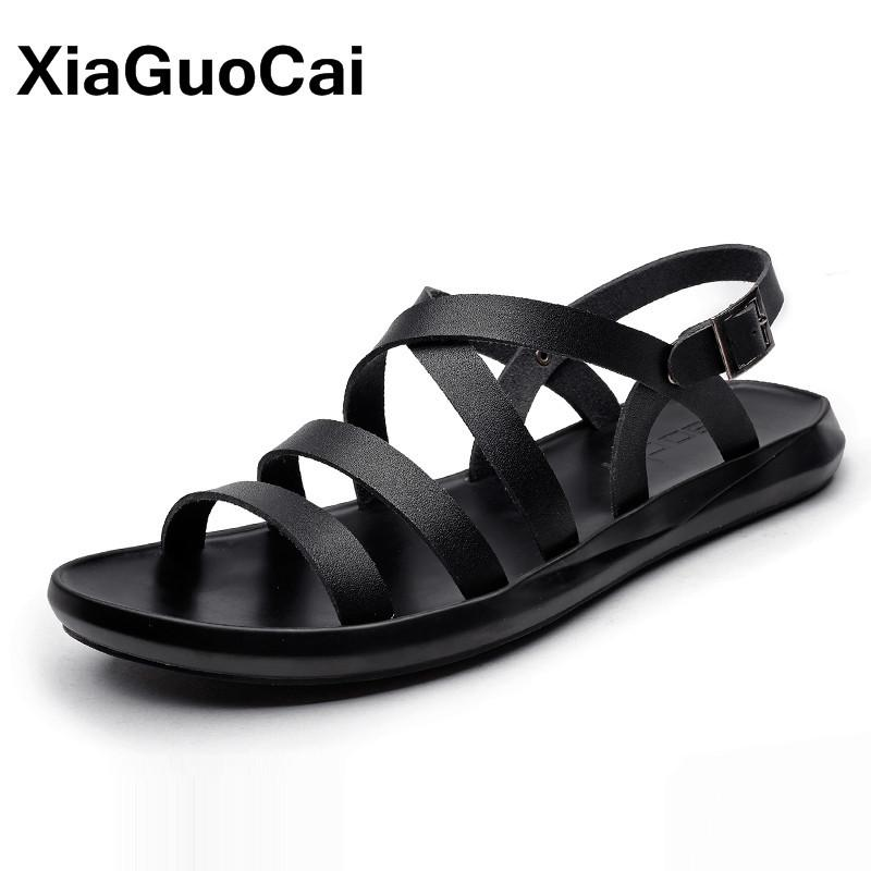 6efc096639 2019 Summer Men's Sandals Casual Trend Beach Shoes Fashion Antiskid  Breathable Rome Style Gladiator Slippers Dropshipping