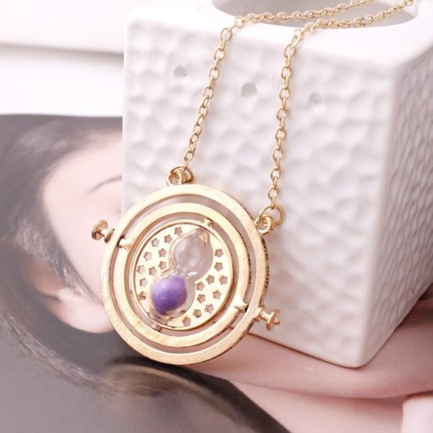 2018 Harry Time Reversal Hourglass Convertidor de tiempo giratorio de 360 ​​grados Magic Potter Colgante Regalos para niños Movie Fan Collares pendientes