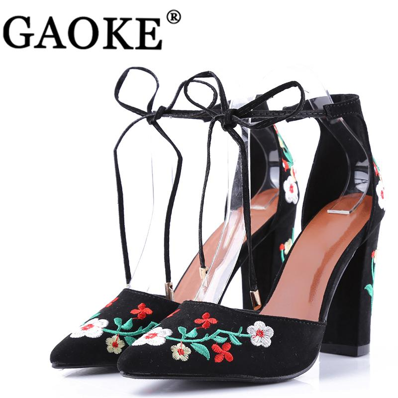 25a218dac4ad Dress Shoes Gaoke 2019 Summer Pointed Toe Lace Up Cross Tie Women High Heels  Fashion Embroider High Heels Women Pumps Hot Sale Women Boots For Men Wedge  ...