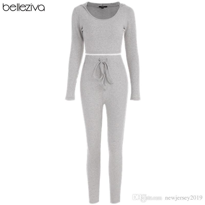 e9ccd85b54 2019 Belleziva Ribbed Crop Top And Pants Set Buzos Deportivos Para Mujer  Long Sleeve Yoga Fitness
