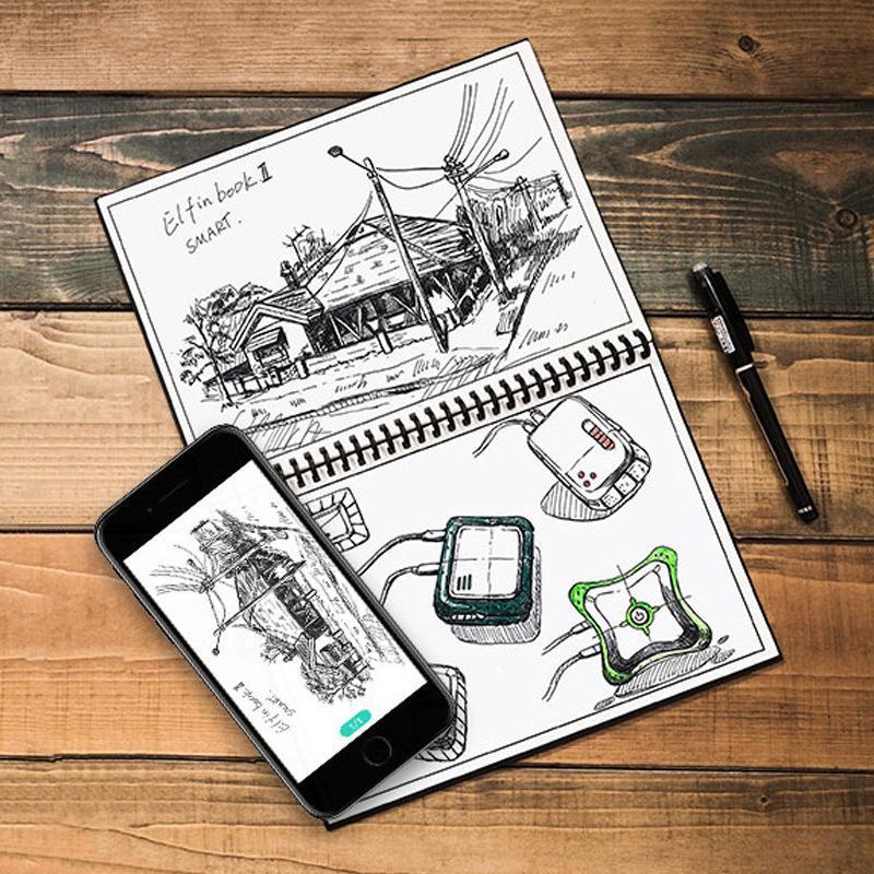 2 Size Elfinbook Erasable Notebook Paper Reusable Smart Wirebound Notebook  Cloud Storage Flash Storage App Connection