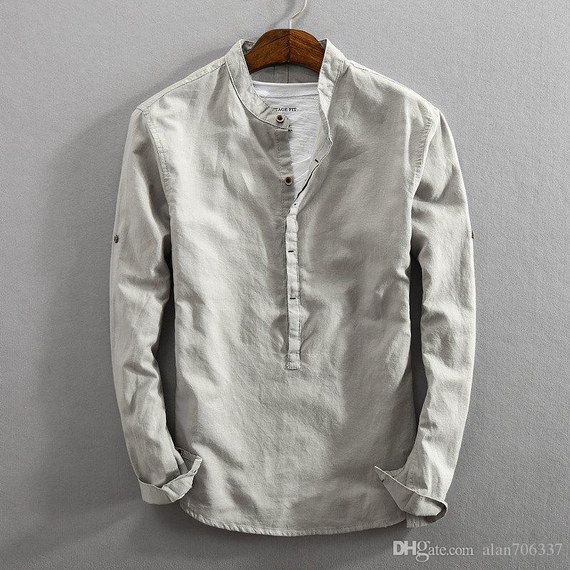 fd96f5a6019 Compre Calidad Para Hombre De Lino De Algodón Pullover Camisas Sólido De Manga  Larga Camisa Ocasional De Los Hombres De Negocios Sociales Vestido De  Cuello ...