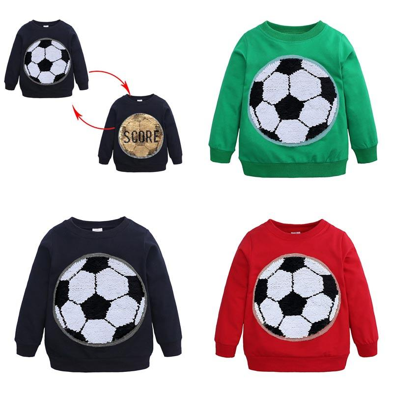 New Spring Fall Boy Kids Clothing T shirt Football Paillette Design Long Sleeve Cool T shirt Kids Clothes