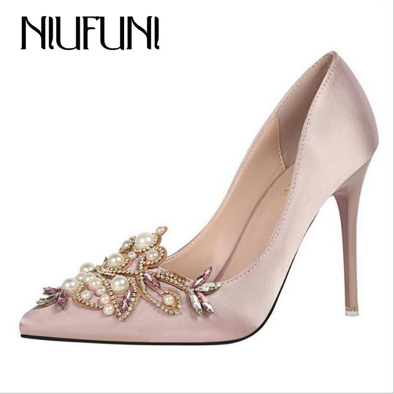 11bc150847cd Dress Sext String Bead Ladies Party Shoes Crystal Pointed Toe Solid Women High  Heels Elegant Design Bridal Satin Pumps Women Shoes Dansko Shoes Tennis  Shoes ...