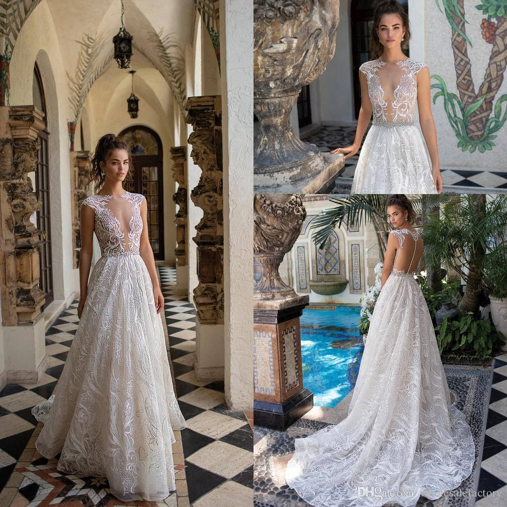 870d03388d9 Discount 2019 Elegant Sheer Cap Sleeves Lace A Line Wedding Dresses Applique  Beaded Seen Through Back Sweep Train Wedding Bridal Gowns With Buttons  Wedding ...