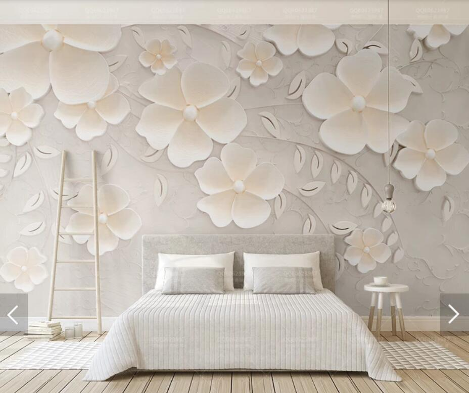 3D 8D Embossed Flower Wall Mural Photo Wallpaper for Living Room Bedroom  Backdrop Wall Paper Room Decor Floral Murals