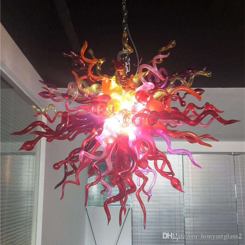 Lights & Lighting New Design Free Shipping Red Blown Glass Jar Pendant Chihuly Style Chandelier For Home Decoration