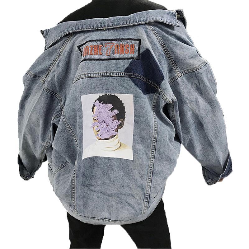 new style f32a5 b82f9 Bedruckte Jeansjacke Plus Size Langarm Frühling 2019 Mantel Lockern Jaket  Jeans Frau Spliced Mantel Hip Hop Womens Oberbekleidung