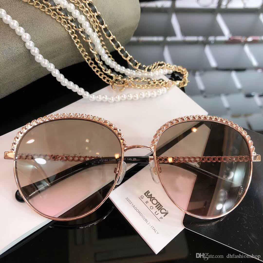 f8b01418fec3 Name Brand Sunglasses Women 2019 New Designer ROUND Frame Sun Glasses Plain  Glasses Reflector Best Quality With Chain C 9 Vintage Sunglasses Super ...