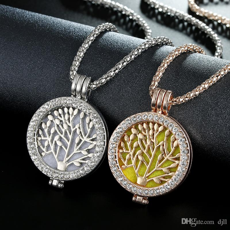 Essential Oil Diffuser Locket Pendant Tree of Life DIY Aromatherapy Perfume Necklace Women Diamond Open Work Plant Sweater Chain Necklaces