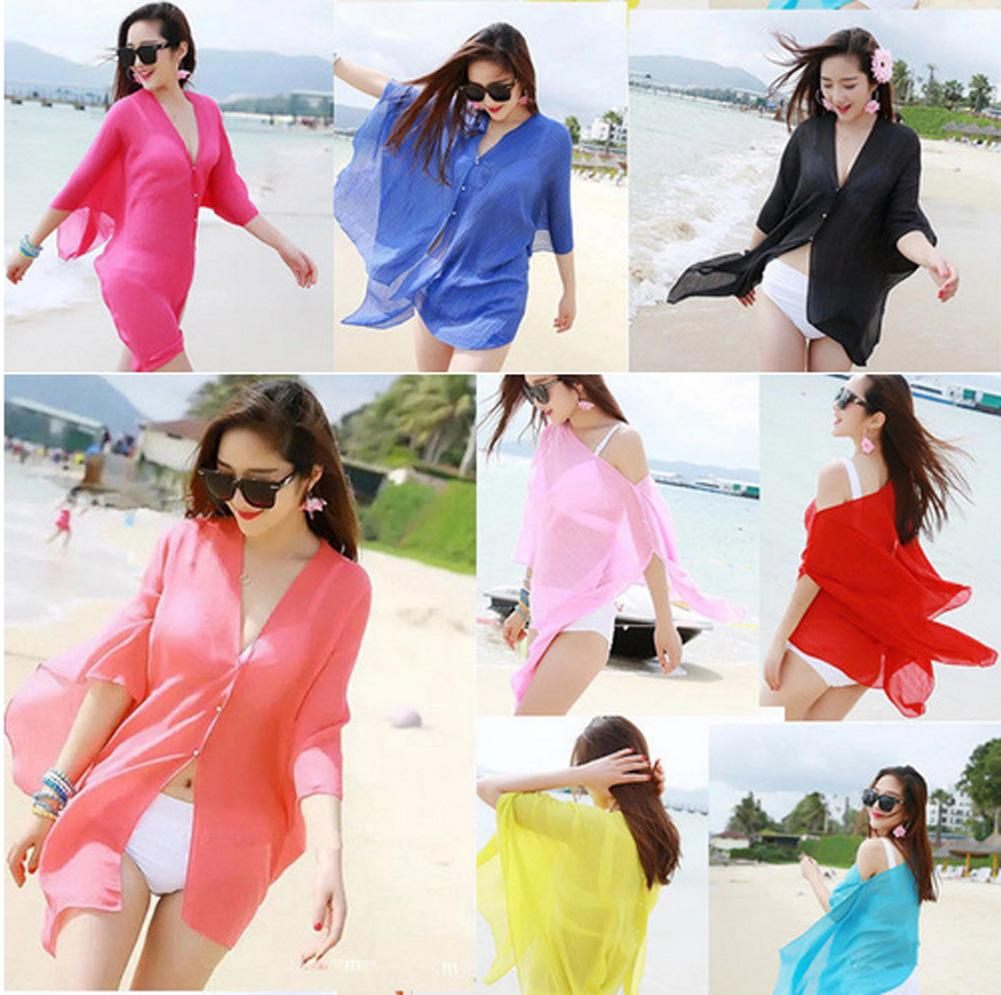 7d1a549507 2019 New Summer Sexy Women Cover Up Kaftan Chiffon Swim Wear Beach ...