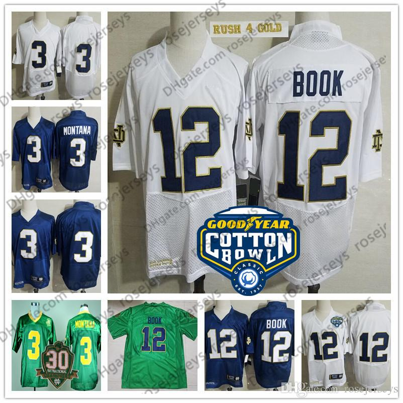 2019 Notre Dame #12 Ian Book White Rush Gold Cotton Bowl Jersey Navy Blue NCAA #3 Joe Montana Kelly Green Vintage 1977 Champions