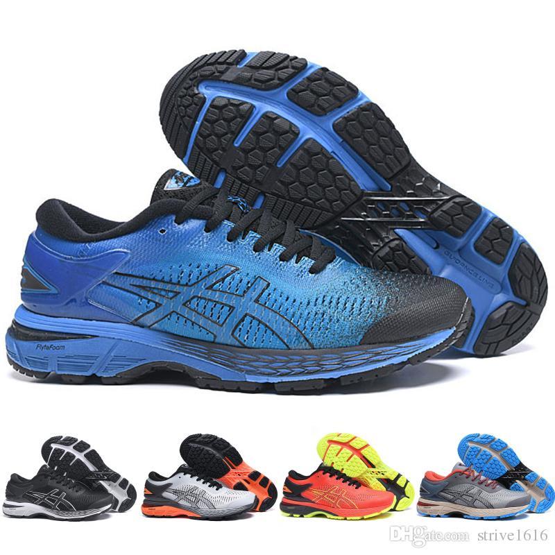 Nouveau Asics GEL KAYANO 25 Original Hommes Femmes Sport Chaussures De Course Pas Cher En Ligne Bleu Noir Athlétisme Designer Baskets 36 45