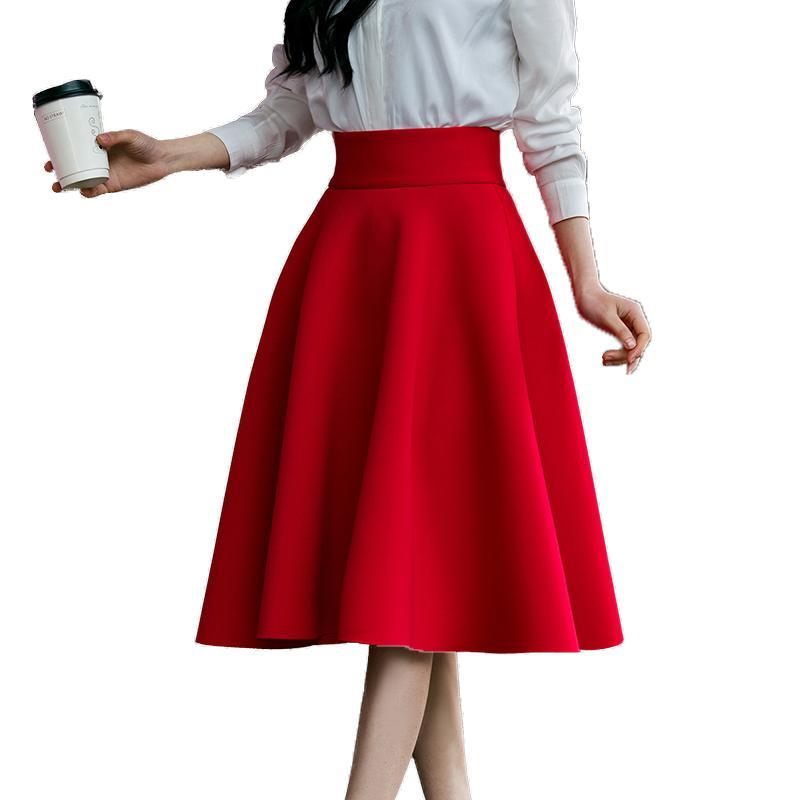 ff60382feb Compre 5xl Tallas Grandes Falda De Cintura Alta Para Mujer Hasta La Rodilla  De La Parte Inferior De Los Fondos Falda Plisada Saia Midi Rosa Negro Rojo  Azul ...