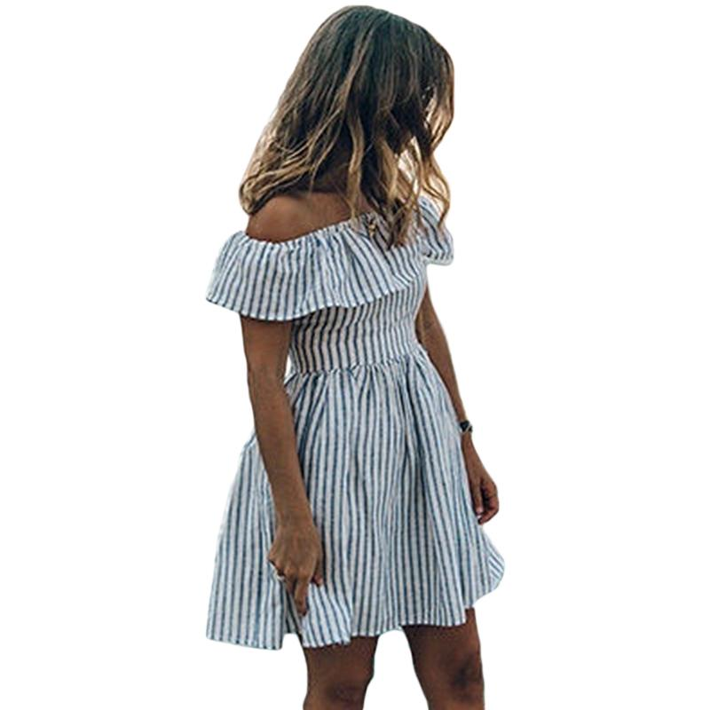 fbc65450f6c Women Ruffles Summer Dress 2019 Women Striped Off The Shoulder Backless  Slash Neck Slim Mini Dress Casual Fashion Party Dresses Women Dressing Style  Party ...