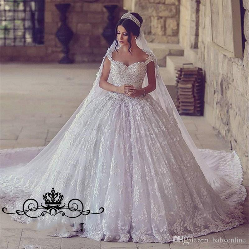 Newest Full Lace Ball Gown Wedding Dresses Vintage Dubai Arabic Cap Sleeve Appliques Beads Ruched Puffy Long Bride Church Gowns