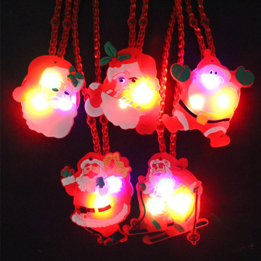 LED Christmas Light Up Flashing Necklace Children Kids Glow up Cartoon Santa Claus Pendant Party Xmas Dress Decorations Party Favor RRA2290