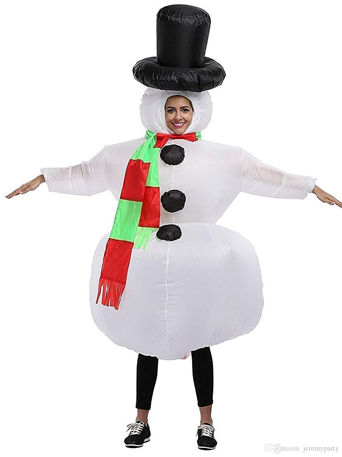 Adult Children Christmas Inflatable Scarf Snowman Cosplay Costume Xmas Party Fancy Dress Blow Up Body Suit Jumpsuit