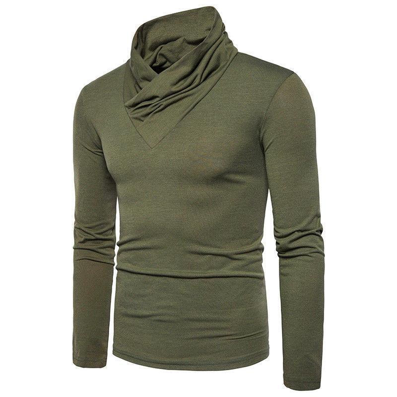 2019 Inverno Nova marca sólida Homens de linho fino cabido Outono Henley Sweater Cotton Sólidos Top manga comprida Smart Casual Shirts