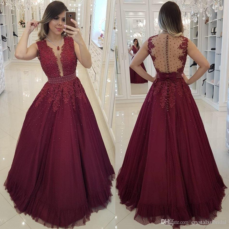 2019 New Elegant A-Line Burgundy Evening Dresses Arabic Tulle Lace Applique Beads V Neck Sleeveless Floor Length Prom Dresses Party Gowns
