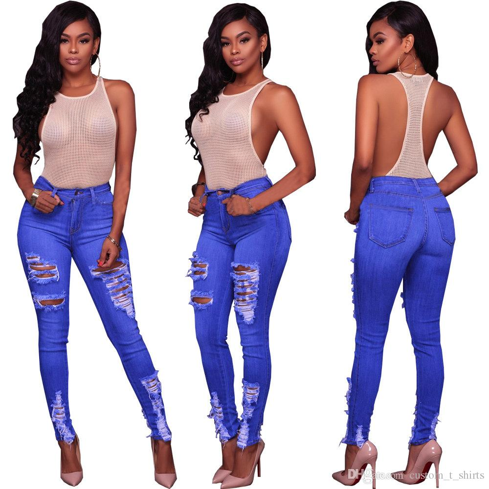 Wholesale Women jeans High Strength Water washed skinny jeans Ladies fashion New Style Leisure Bottom Jeans 221#