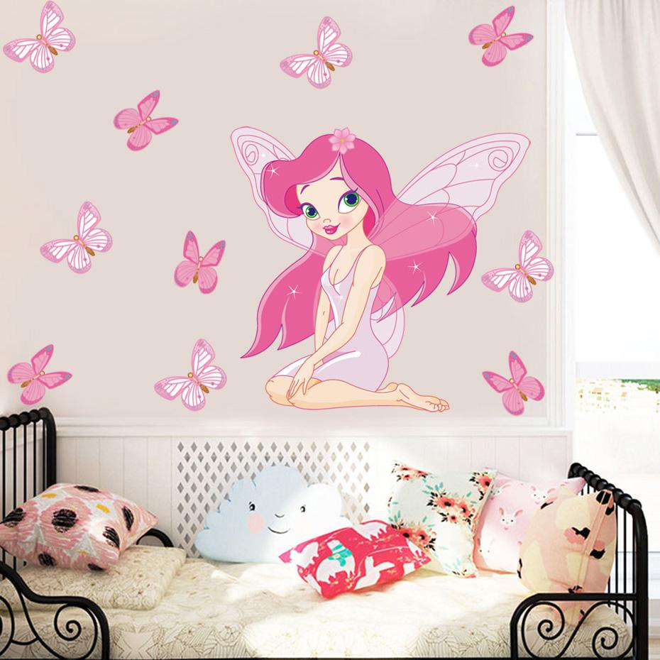 Colorful Fairy Girl Butterfly wall sticker Princess DIY Removable pink Wall Sticker For Kids Room Nursery Mural Home Decor