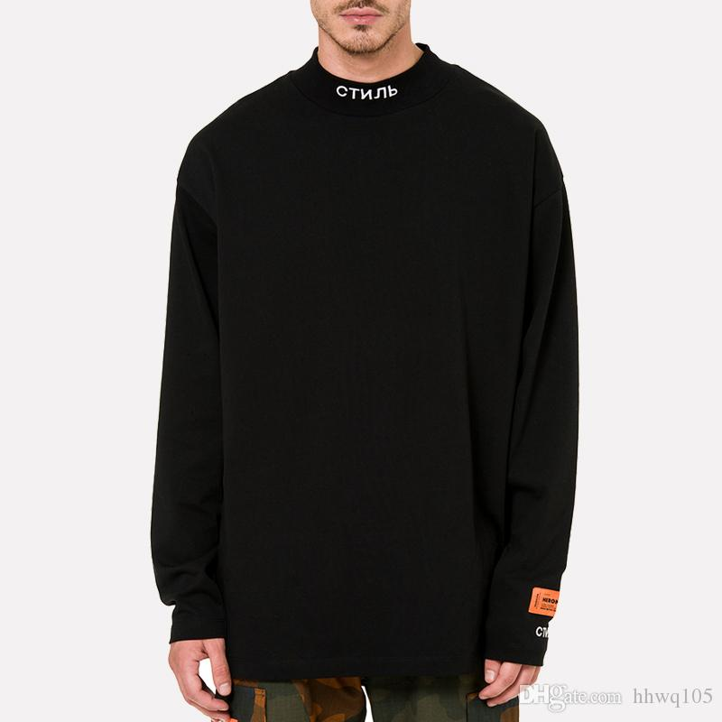 5ce05b93c392 HERON PRESTON STYLE Mock Neck T Shirt Men Women Long Sleeve Cotton Tee Shirt  Letters Embroidered Turtle Neck Sweatshirt Pullover YCI0207 Canada 2019  From ...