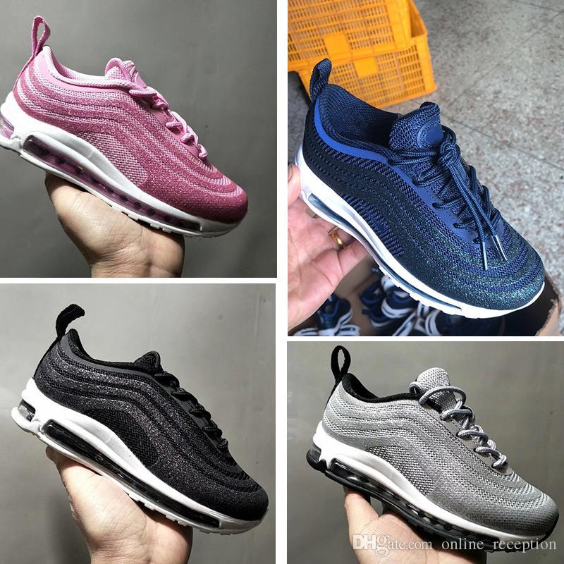 d3d339722 Compre Nike Air Max 97 Zapatos Triple Blanco Negro Rosado Zapatillas Para  Correr Og Metallic Gold Silver Bullet Hombres Entrenadores Para Niños  Mujeres ...