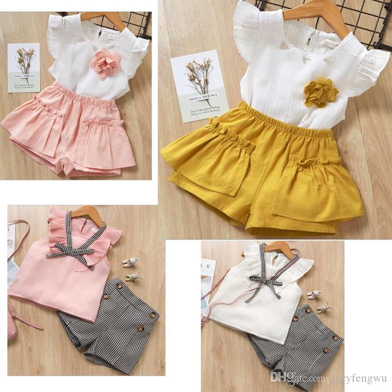 629493c239a08 2019 Quality Boutique Girls Clothing Baby Clothes Sets Children Chiffon Bow Dresses  Kids Clothes Tees Pants Cotton Shorts Outfits XZT074B From Jacyfengwu, ...