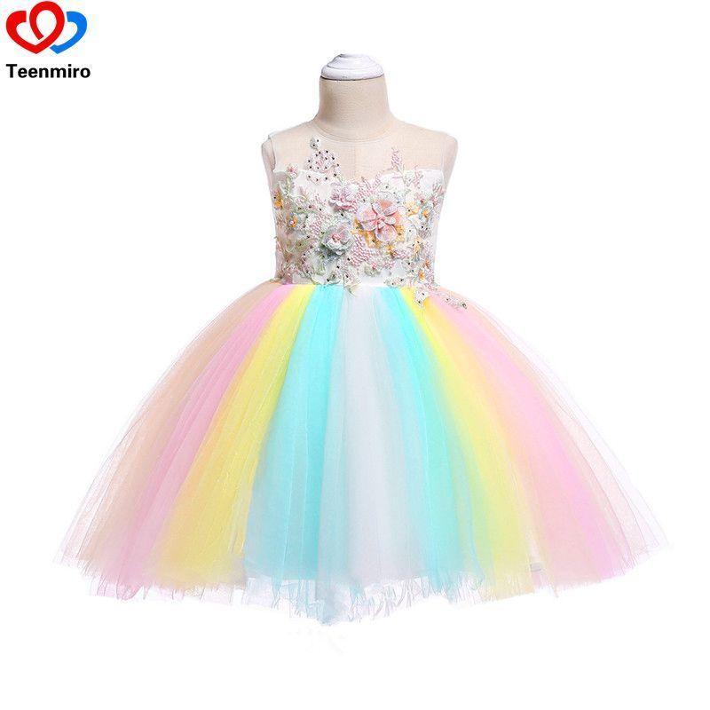 97ff51a8469c0 2019 New Kids Rainbow For Sleeveless Summer Dresses Flower Girls Brithday  Party Pageant Princess Dress Teen Clothing J190508