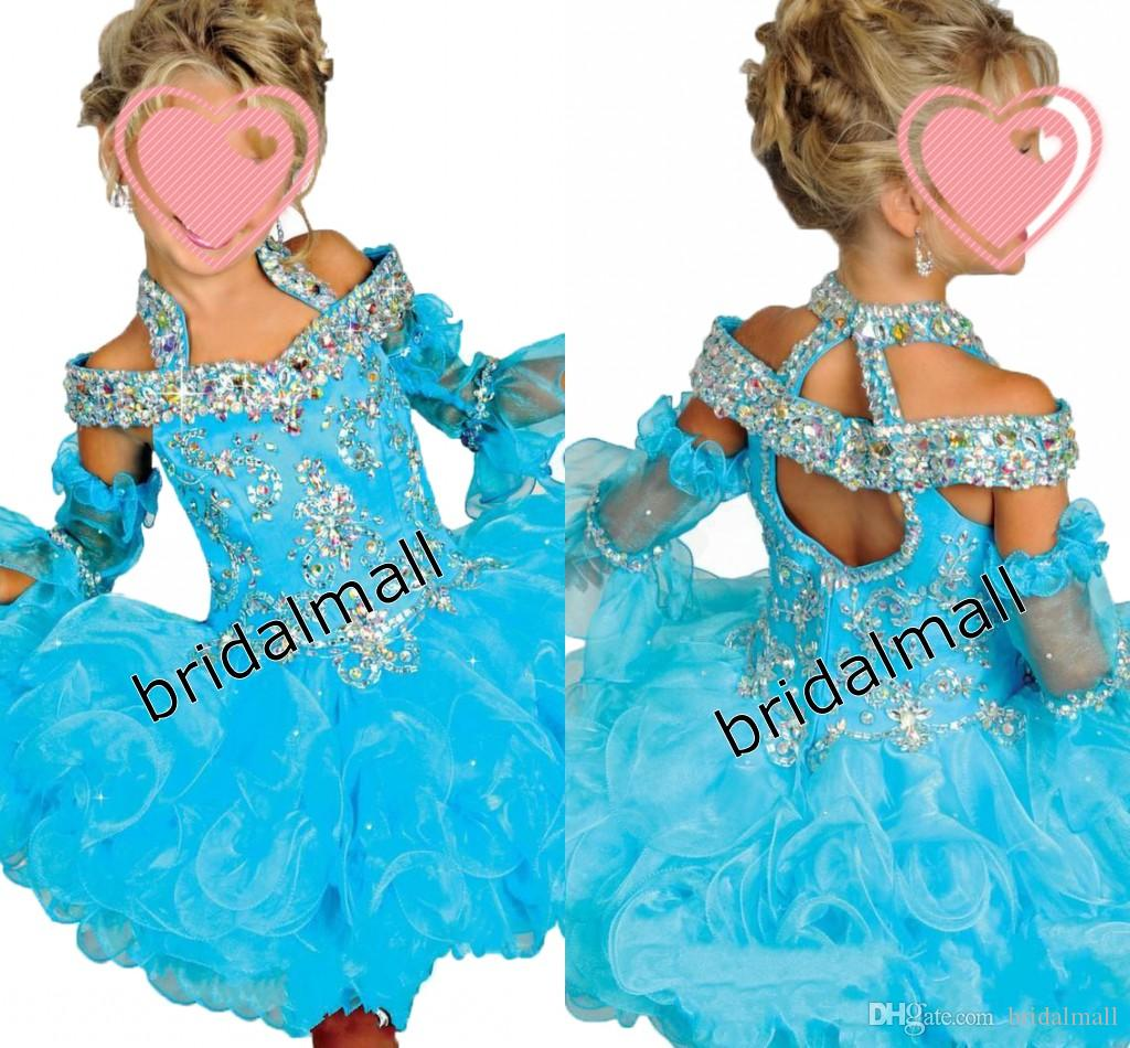 Short Ball Gown Girls Pageant Dresses Portrait Ruffle Beaded Organza Flower Girls' Dress For Wedding Short Children Birthday Gowns Wear