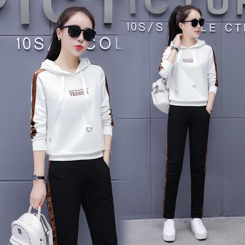 2019 2019 Spring Korean Version Of The New Embroidered Fashion Casual  Sports Suit, Women\u0027S Two Piece, Hoodie Plus Sports Pants Suit From  Morph1ne,