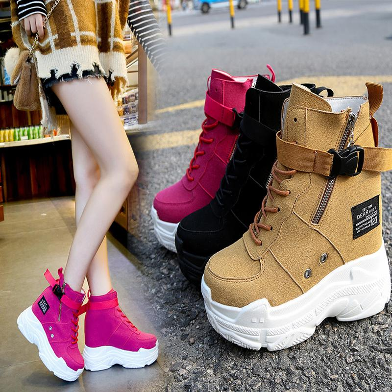 Chic Women High Heel Sport Rose Ankle Boots Platform Wedge Suede Sneake Shoes Round Toe 3Colors C607