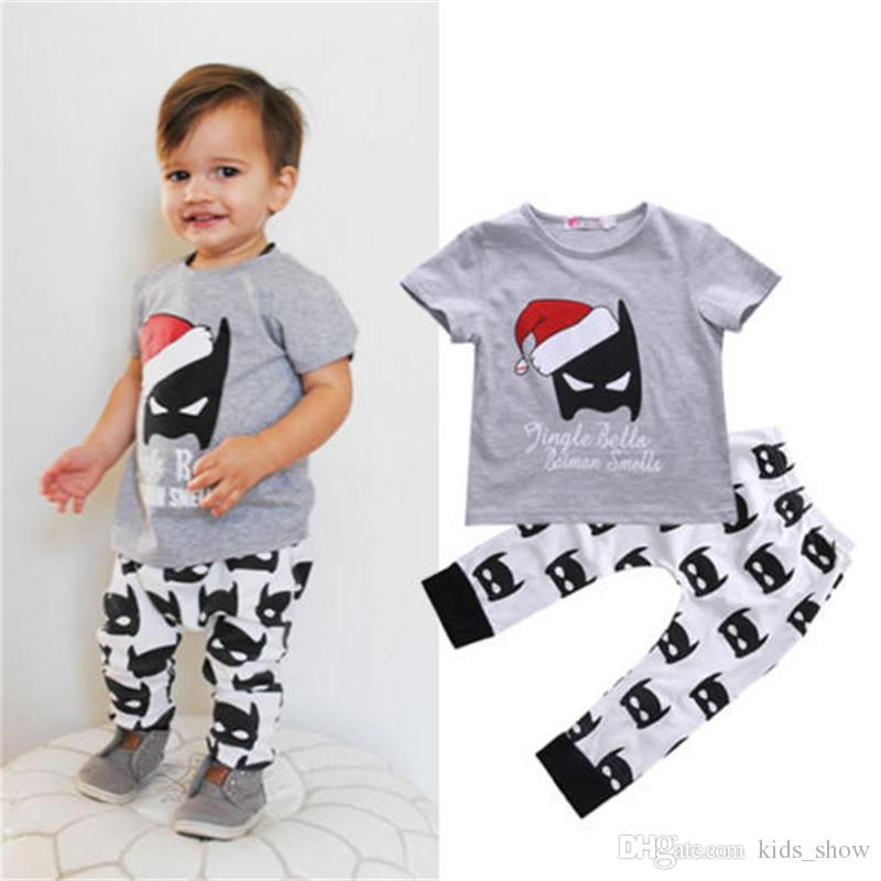 f66c935dce80 2019 Baby Boys Girls Christmas Caps Batman Clothing Sets Children Summer  Short Sleeve T Shirts Pants Set Toddler Infant Clothes Outfit From  Kids_show, ...