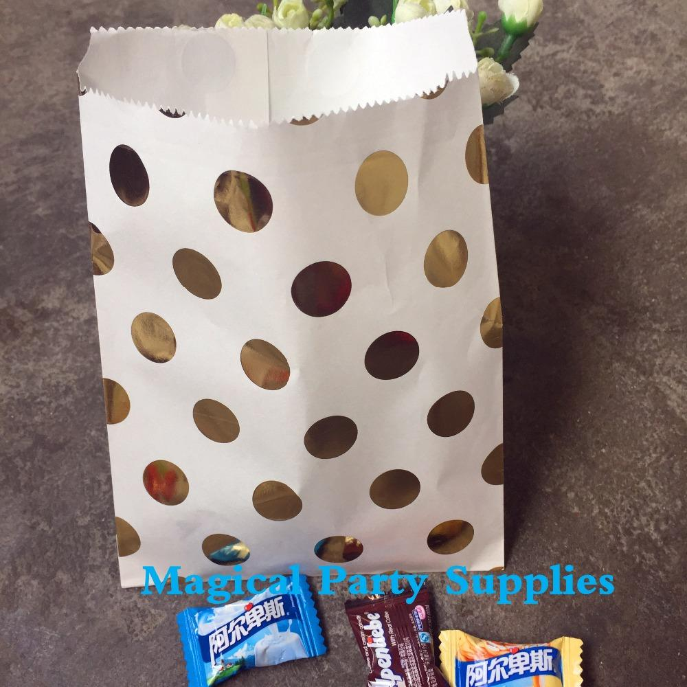 Astonishing 50Pcs Foil Gold Dot Paper Bag For Candy Buffet Gift Bags Paper Party Food Bags Wedding Favor Bags Home Interior And Landscaping Palasignezvosmurscom