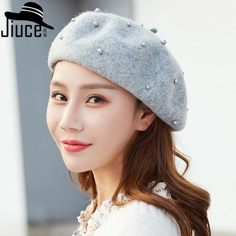 58e16b2bd2eeb 2019 New Winter Pearl S Department Of Literature And Art Of Wool Painter Han  Edition Fashion Leisure Joker Cloth Cap Beret Children   From Arrowhead