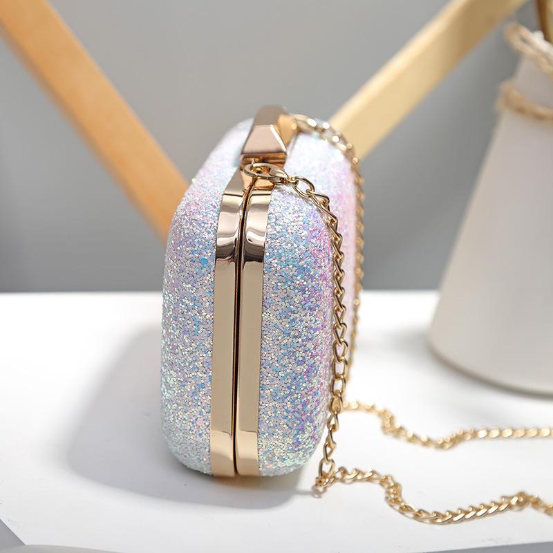 SIETE PIEL Diseñador de lentejuelas bolso de embrague de las mujeres de la PU de cuero bolsas de mensajero para las cadenas femeninas Mini Bolsas de hombro de las señoras Bolsos de noche