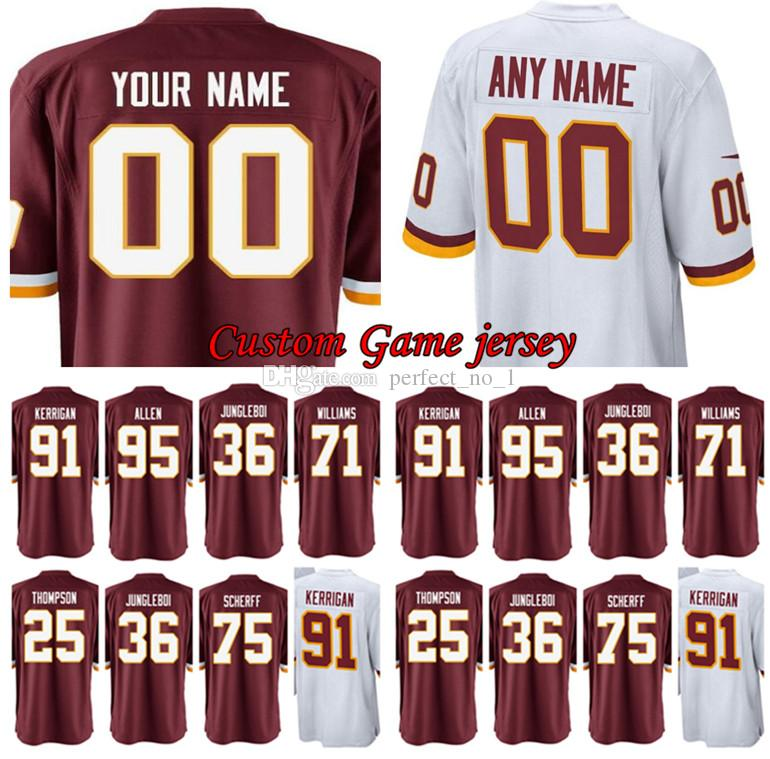 Custom Washington 91 Ryan Kerrigan Redskins Jersey 1 Da Ron Payne 71 ... 1782513e6