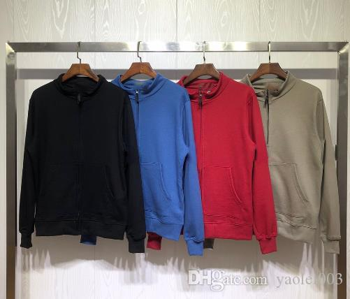Mens Slim sweatshirts zipper cardigan stand collar fashion hatless sweater men and women couple 2020 new