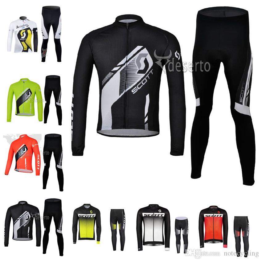 2019 SCOTT team Cycling long Sleeves jersey pants sets Breathable Quick drying mtb Racing Wear resistant T-shirt X70244